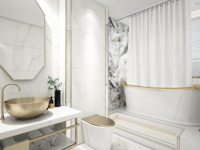 Łazienka w stylu glamour - pomysły na wykończenie wnętrza