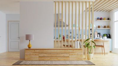 Ścianka działowa drewniana, czyli lamele w otwartym salonie